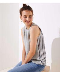 LOFT - Petite Striped Mixed Media Sleeveless Jumper - Lyst