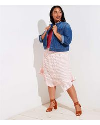 LOFT - Plus Striped Ruffle Hem Skirt - Lyst