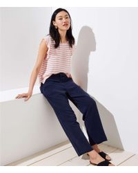 LOFT - Petite Frayed Wide Leg Trousers - Lyst