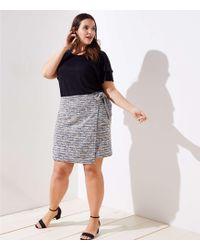 LOFT - Plus Marled Stripe Wrap Skirt - Lyst