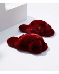 LOFT - Faux Fur Slide Slippers - Lyst