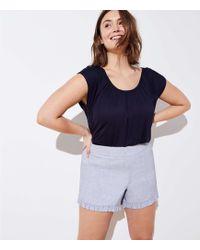 LOFT - Plus Crosshatch Ruffle Shorts - Lyst