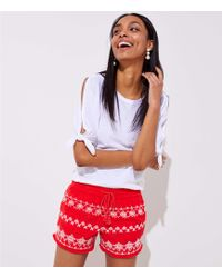 LOFT - Petite Embroidered Tassel Drawstring Shorts - Lyst