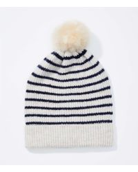 LOFT - Striped Faux Fur Pom Pom Hat - Lyst