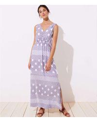 6de7f17c3ac7 LOFT - Beach Mixed Dot Drawstring Waist Maxi Dress - Lyst