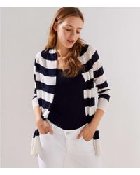LOFT - Petite Striped Sheer Open Cardigan - Lyst