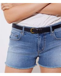 LOFT - Frayed Cut Off Denim Shorts In Pale Indigo Wash - Lyst