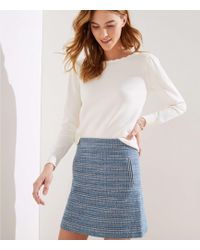 409bf8d7f J.Crew Tall Tweed Pencil Skirt With Fringe in Blue - Lyst