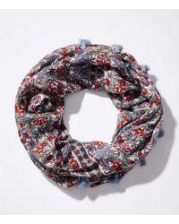 LOFT - Tasselled Floral Infinity Scarf - Lyst
