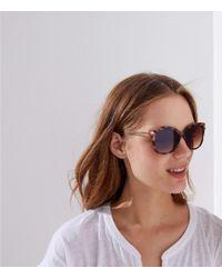 LOFT - Metallic Arm Tortoiseshell Print Cateye Sunglasses - Lyst