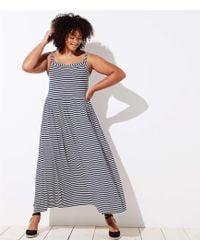 27c15f1a9a36 LOFT - Plus Striped Strappy Maxi Dress - Lyst