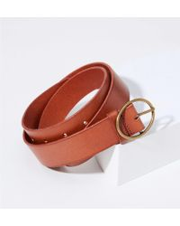 LOFT - Oval Buckle Leather Belt - Lyst