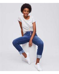 LOFT - Boyfriend Jeans In Rich Mid Indigo Wash - Lyst