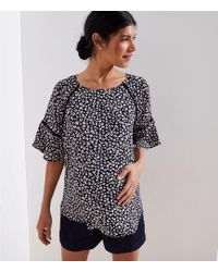 LOFT - Maternity Bloom Flounce Mixed Media Top - Lyst
