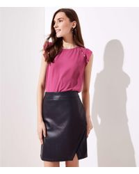 LOFT - Tall Faux Leather Wrap Skirt - Lyst