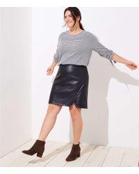 LOFT - Plus Faux Leather Wrap Skirt - Lyst
