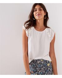 LOFT - Gilded Button Flutter Top - Lyst