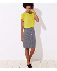 LOFT - Petite Houndstooth Buttoned Pencil Skirt - Lyst