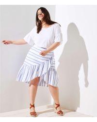 LOFT - Plus Striped Ruffle Wrap Skirt - Lyst