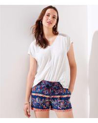 LOFT - Paisley Tie Waist Shorts - Lyst