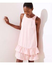 LOFT - Tall Back Cutout Ruffle Hem Dress - Lyst