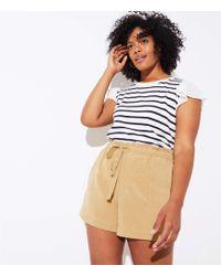 LOFT - Plus Tie Waist Safari Shorts - Lyst