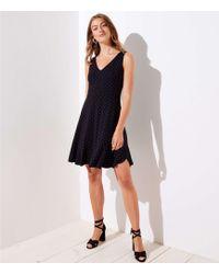 LOFT - Dotted V-neck Flare Dress - Lyst