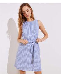 LOFT - Petite Striped Tie Waist Henley Dress - Lyst