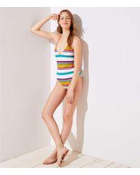LOFT - Beach Striped Halter One Piece Swimsuit - Lyst