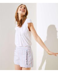 LOFT - Petite Striped Ruffle Shorts - Lyst