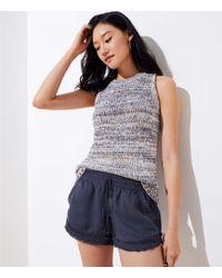 LOFT - Frayed Drawstring Shorts - Lyst