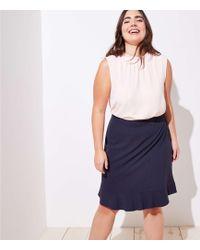 LOFT - Plus Pinstripe Flounce Pencil Skirt - Lyst