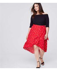LOFT - Plus Floral Midi Wrap Skirt - Lyst