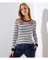 LOFT - Floral Embroidered Striped Sweater - Lyst