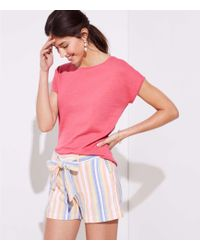 LOFT - Petite Striped Tie Waist Shorts - Lyst