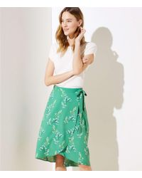 e2786aba9e2 LOFT - Flower Branch Wrap Skirt - Lyst