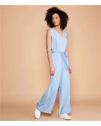 1bf0b1afd46 LOFT - Lou   Grey Chambray Tie Waist Jumpsuit - Lyst