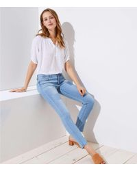 LOFT - Petite Modern Patchwork Skinny Jeans In Light Stonewash - Lyst