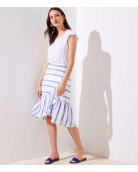 LOFT - Petite Striped Ruffle Wrap Skirt - Lyst