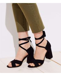 LOFT - Lace Up Block Heel Sandals - Lyst