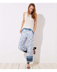 LOFT - Tall Border Floral Wide Leg Pants - Lyst