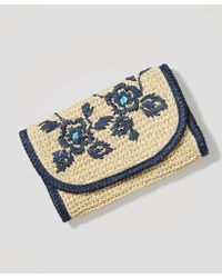 LOFT - Floral Embroidered Straw Clutch - Lyst