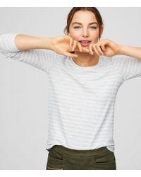 LOFT - Petite Heathered Striped Shirttail Tee - Lyst