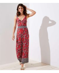 LOFT - Beach Border Paisley Tie Back Jumpsuit - Lyst