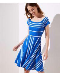 LOFT - Tall Striped Crossover Back Flare Dress - Lyst