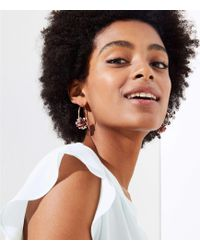 LOFT - Sequin Flower Hoop Earrings - Lyst