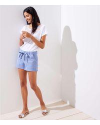 LOFT - Frayed Tie Waist Cargo Shorts - Lyst