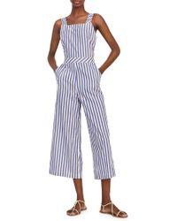 Mango - Striped Cotton Jumpsuit - Lyst