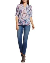 Two By Vince Camuto - Glimmer Graphic Semi-sheer Blouse - Lyst