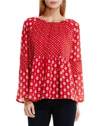 Two By Vince Camuto - Madras Foulard Mix Print Peasant Blouse - Lyst